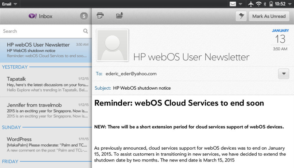 HP webOS Cloud Services extension notice